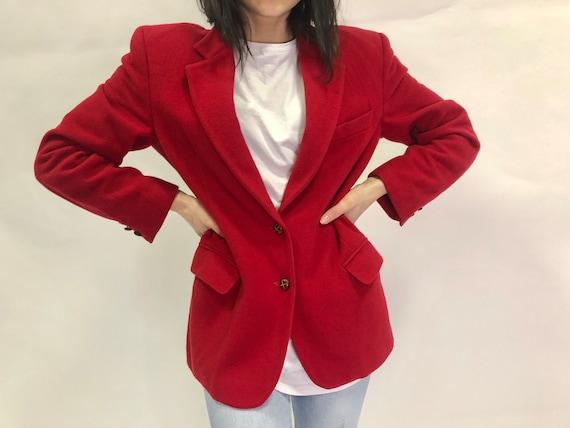 Cashmere Wool Blazer, vintage Red jacket, retro wa