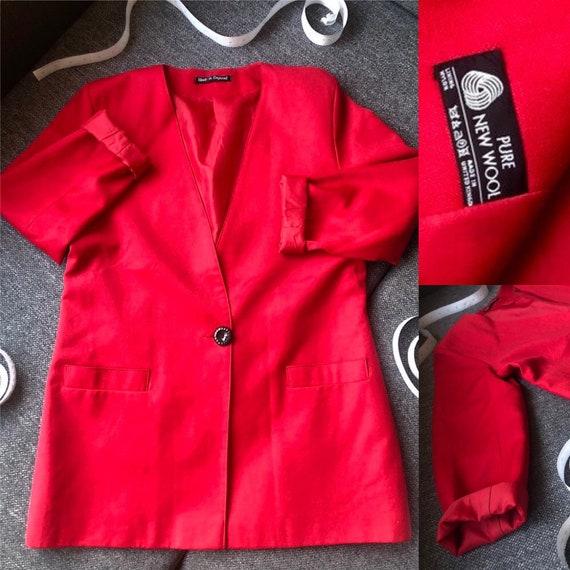 Oversized vintage wool red blazer