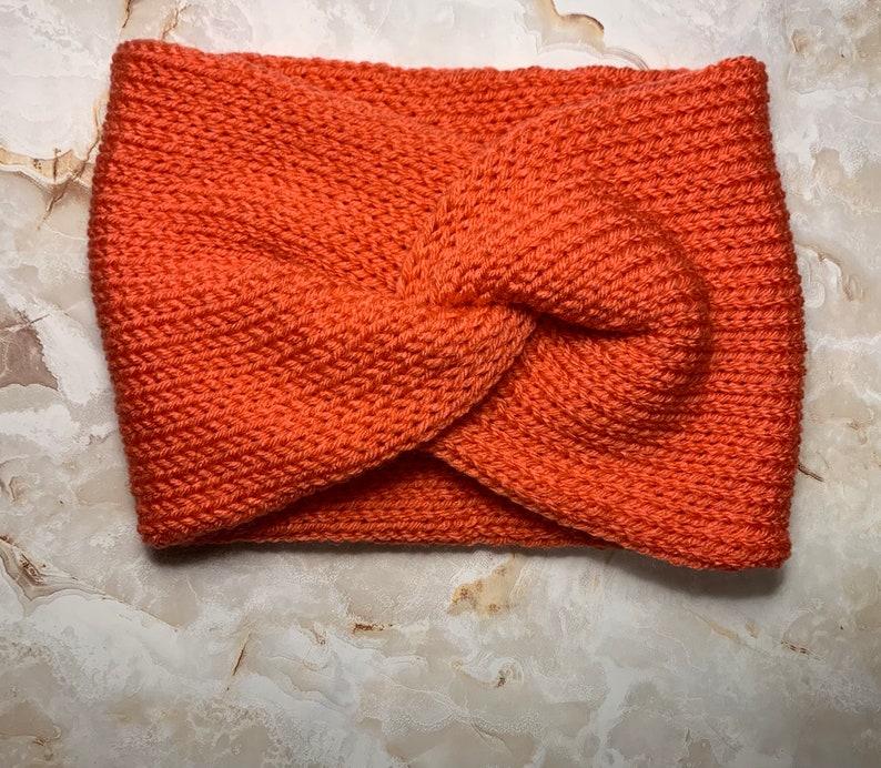 Coral Headband Winter Headband Bright Coral Color Headband | Knit Headband