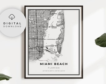 Miami Beach Map Print Florida FL USA Map Art Poster printable gift dad Printable city street road map NP231