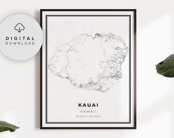 Kauai Map Print Etsy