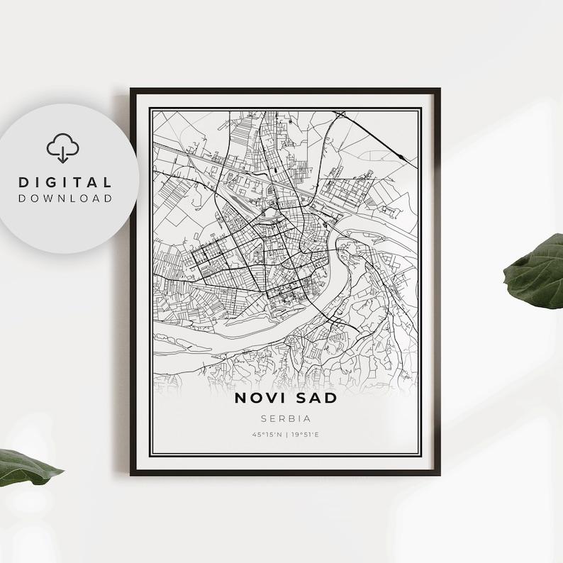 Novi Sad Map Print Serbia Map Art Poster Printable city Etsy