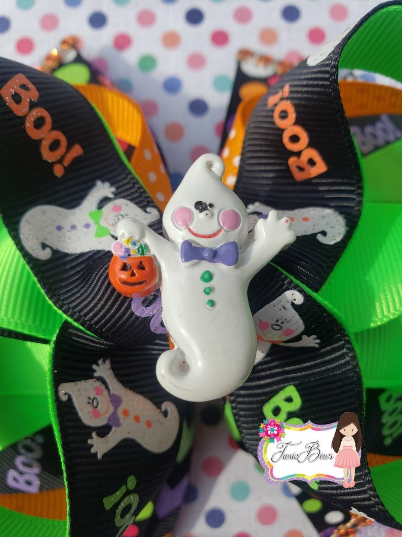 Ghost Hair Bow US Designer Prints Halloween neon colors Girls Clip Boo