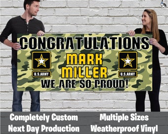 Congratulations U.S Army Armed Forces Militia Personalized Banner