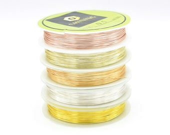 Silver / Gold / Rose Gold Plated Non Tarnish Beading Wire 0.3mm, 0.4mm, 0.5mm, 0.6mm, 0.8mm, 1mm For Jewellery Making