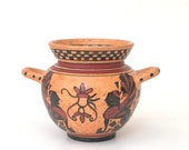 Ancient Greek Pottery Authentic Reprotection Skyphos From Korinthean Museum, Greek Vase, Terracotta, Grecian Vessel with Handle