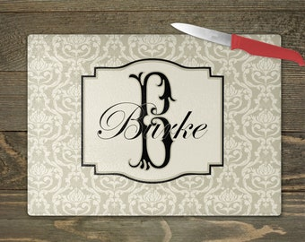 Glass Cutting Board 8 x 11 or 11 x 16 personalized Custom Monogram Damask Black /& Shocking Pink or ANY color s