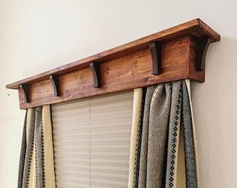 Wooden Window cornice with brackets/Cornice Window Treatments/Cornice board valance/Cornice board/Wood Cornice Board/Brown Wooden Cornice