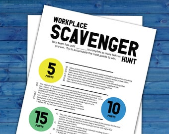 Workplace Team Scavenger Hunt Printable Activity | Work Team-Building Challenge | Printable Co-worker Group Ice Breaker Game