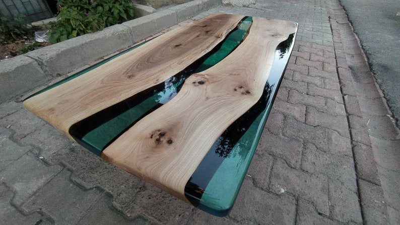 Green Walnut Epoxy Resin Table