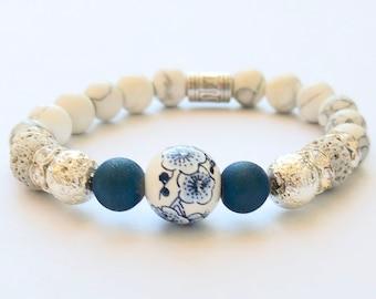 B-Bracelet woman, handmade bracelet, yoga bracelet, elastic bracelet, hand-painted stone, women's jewelry, lava bead, chic, sports jewelry