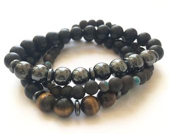 B- Men's bracelet, handmade bracelet, yoga, tiger eye, hematite, sandalwood, calsilica jasper, elastic, home made, man, sport