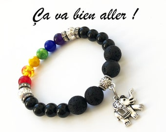 B- Bracelet, you're going to be fine! Handmade bracelet with lava stones and various beads representing a rainbow.