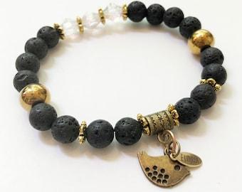 F- Handmade bracelet, lava bead diffuser bracelet, hematite, Swarovski, women's bracelet, elastic, woman bracelet, yoga, home made