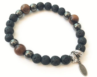 G- Handmade bracelet, home made, child bracelet, lava stones, hematite and wood, yoga, boy bracelet, pearl diffuser essential oil