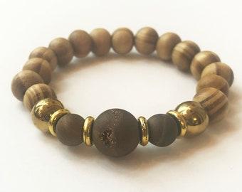 L- Charm bracelet, handmade, wooden beads, agate Druzy geode, sports bracelet, brown bracelet, 10mm beads, 10mm hematite, woman