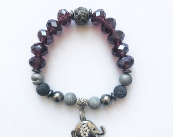 Z- Crystal bracelet elephant jewelry Swarovski homemade druzy jade gemstone semi-precious elastic elastic lava stone