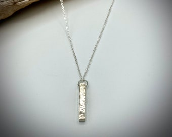 Solid Sterling Silver Bar Neckalce, Hammered Silver Necklace, 25th Birthday Present, 25th Anniversary Present.