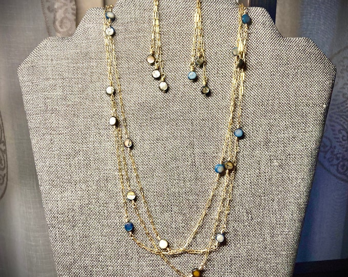 14K Gold Fill + Shell Beaded Necklace/Earring Set