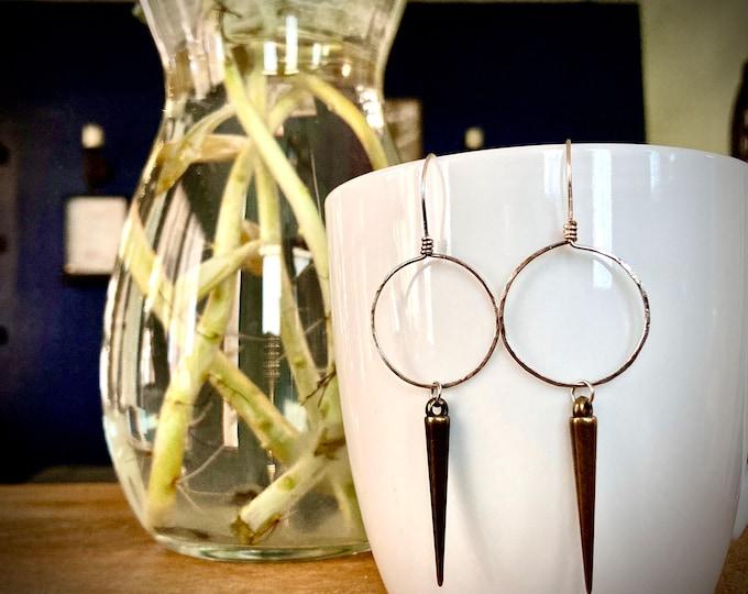Sterling Silver Spiked Hoop Earrings