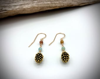 14k gold Amazonite Pine Cone Earrings/ Mountain Earrings/ Nature Earrings