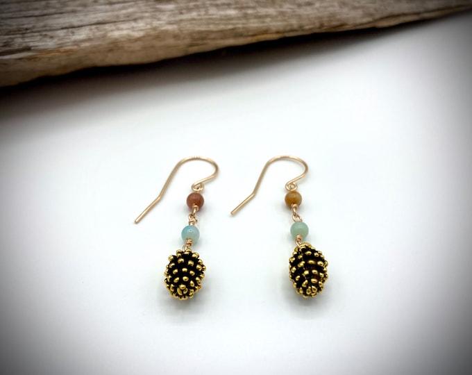 14k gold Amazonite Pine Cone Earrings/ Mountain Earrings/ Nature Earrings