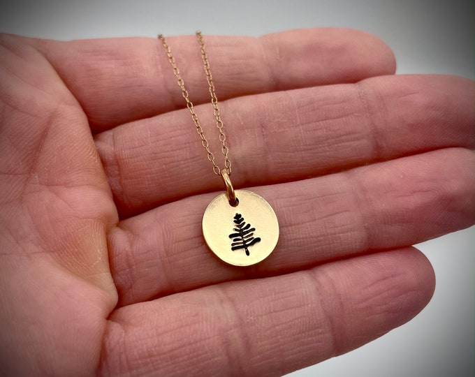 Gold Stamped Tree Necklace