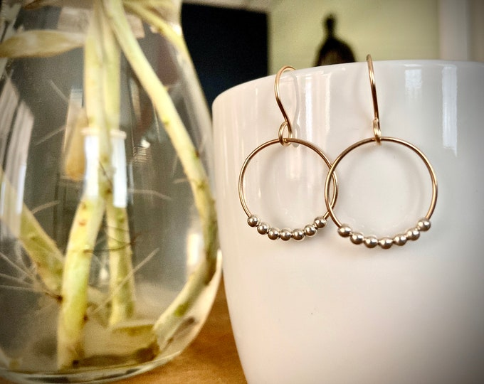 14k Gold Filled And Sterling Silver Hoop Earrings, Mixed Metal Hoop Earrings, Beaded Hoop Earrings