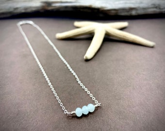 Petite And Dainty Aqua Blue Glass Bead Necklace - Sterling Silver Chain