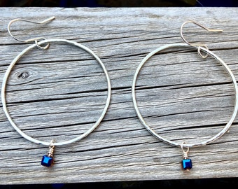 Large Sterling Silver/ Glass Bead Hoop Earrings