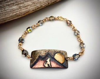 Mixed Metal Coyote Bracelet