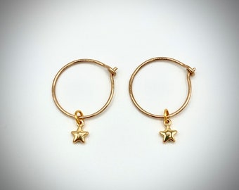 Small Gold Star Hoops