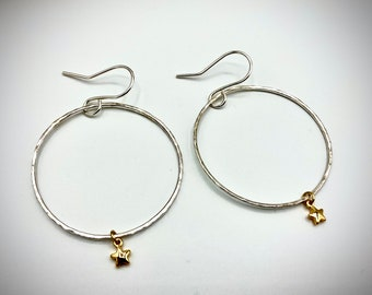 Mixed Metal Star Charm Hoop Earrings/ Sterling Silver And 14k Gold.