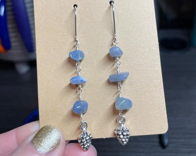 Sterling Silver/ Blue Aventurine Pine Cone Dangles