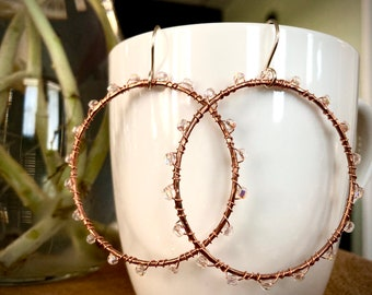 Large, Beaded, Copper Hoop Earrings. Boho Earrings.