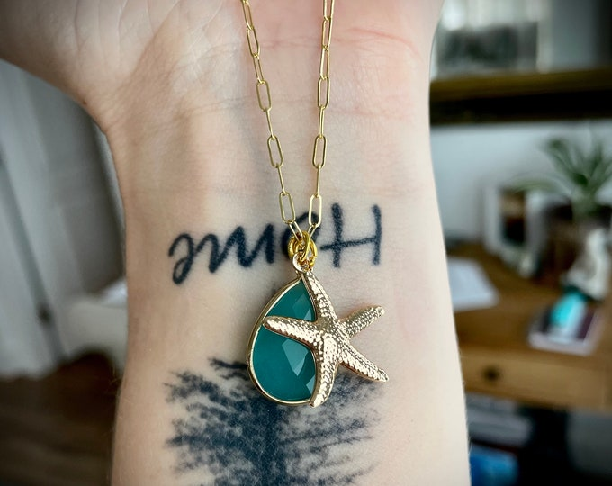 14k Gold Filled Starfish/Aqua Blue Chalcedony Necklace, Beach Jewelry