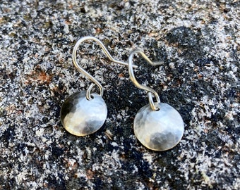 Small Sterling Silver Disk Earring