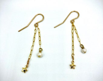 Gold Star And Pearl Drop Earrings