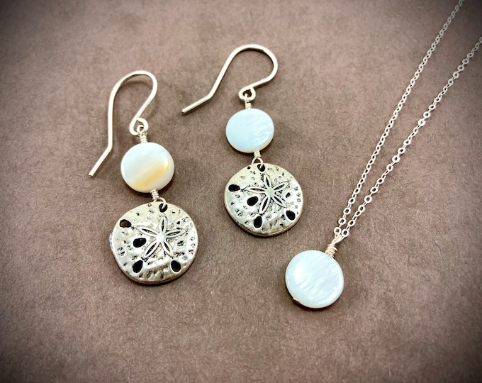 Beach Themed Shell/ Sand Dollar Necklace And Earring Set - Sterling Silver