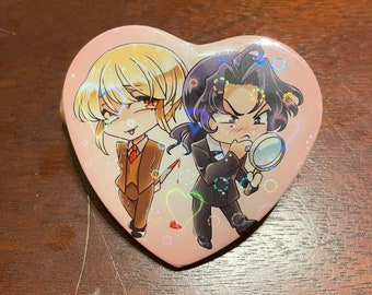SherLiam Heart Button Holographic