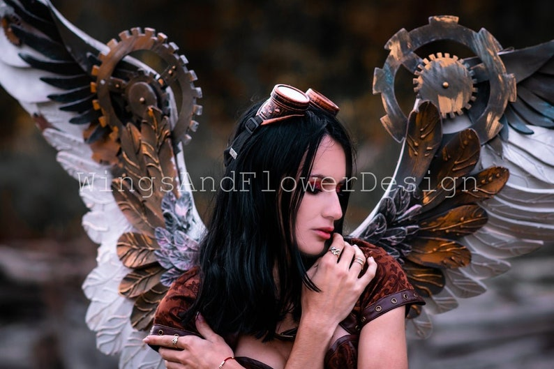 unique wings wings wings with cogs Gothic Wings white angel wings steampunk costume Wings steampunk biomechanical