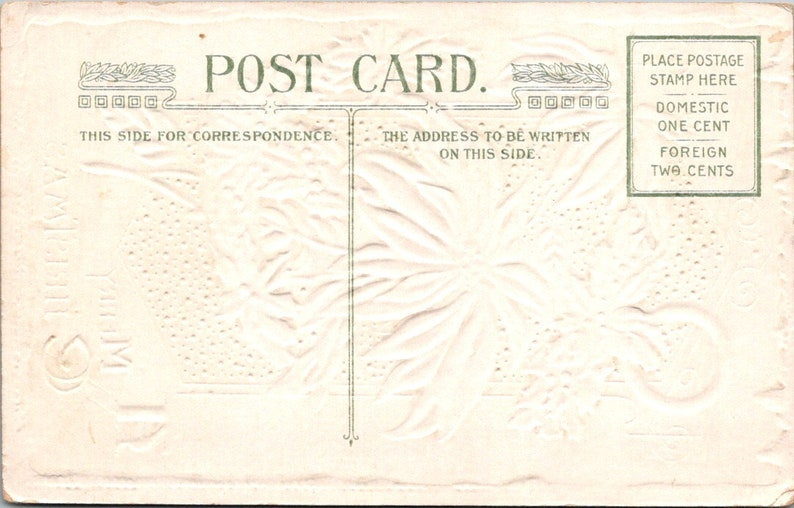 Early 1900\u2019s Christmas Greeting postcard vintageantique A Merry Christmas Red Flower