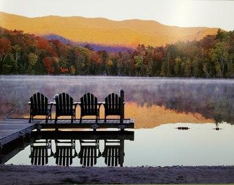 Adirondack Sunset Adirondack Lake Mountain Art Saranac Lake New York State Parks Traditional Version Adirondacks Poster