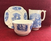 Baby Breakfast Dish Set by Copeland Spode Duncan with Blue Transfer ware Farm Scene - antique