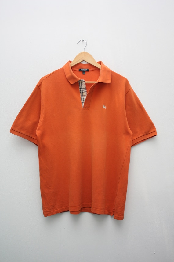 Burberry Orange Polo Nova Check Short Sleeve