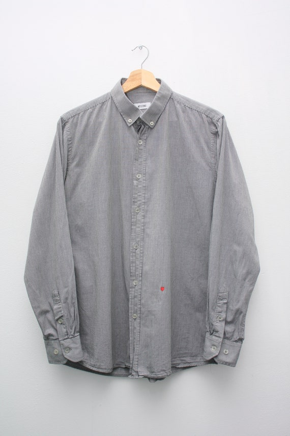 Moschino Heart Shirt Gray Checkered Long