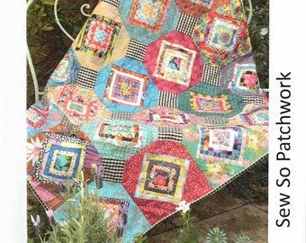 Bed Quilt Crib Quilt ORIGAMI Folded Fabric Patchwork Quilt Sewing Pattern Lap Quilt Lynne Wilson Designs