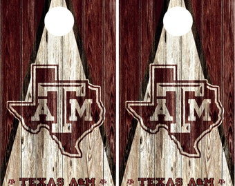 Texas A&M Aggies Cornhole Wraps ! Not cornhole Boards! high quality vinyl! Rapid Air Release Vinyl! Must clear gloss after installing!