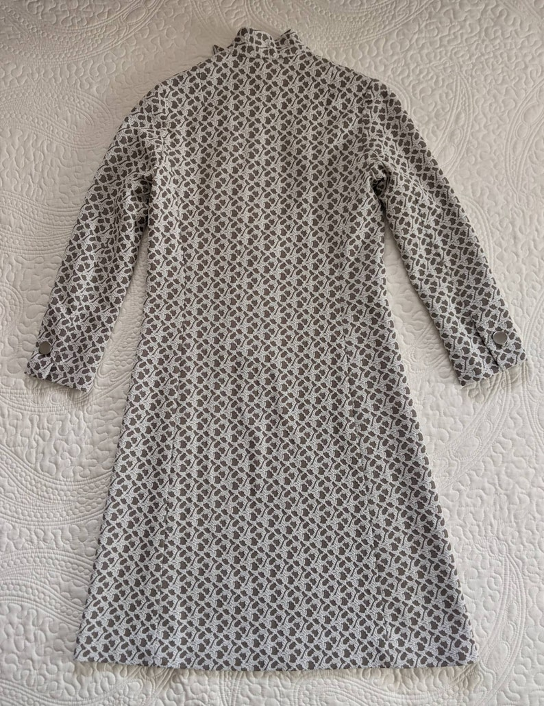 1960s Mod VOGUE Young Fashionables Grey and White Asymmetrical Button Down Polyester Dress\u00a0
