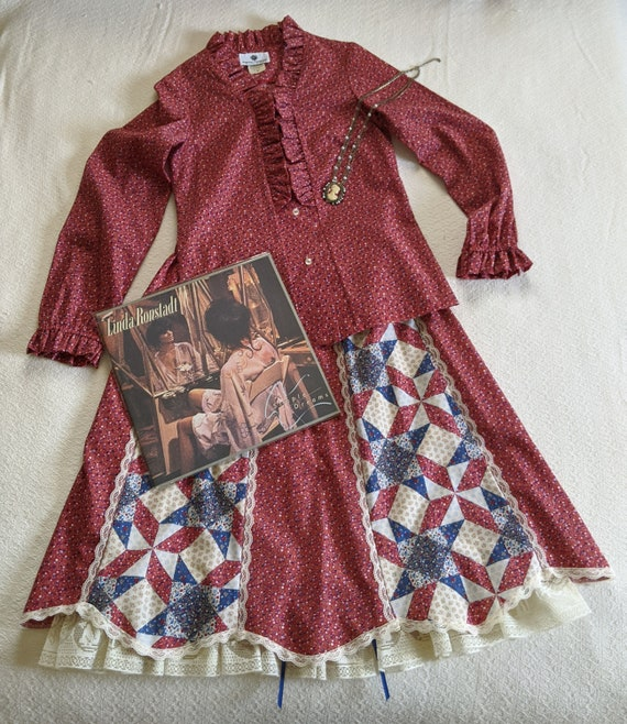 1970s Prairie Style Matching Blouse and Skirt Set